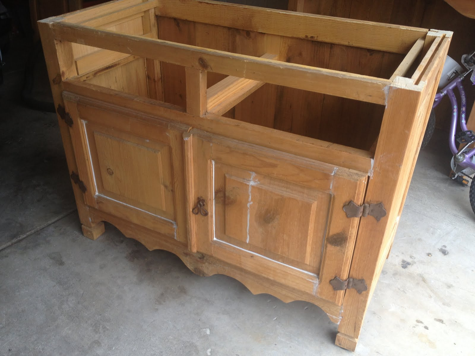 Mothering with Creativity DIY Kitchen Island from an Old Armoire