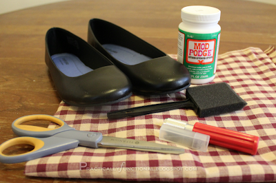 Mod Podge shoe supplies