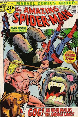 Amazing Spider-Man #103, Ka-Zar, Zabu, Gog, and Gwen Stacy in a bikini