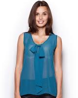 Bluza moderna, de culoare turcoaz-inchis, cu fundita ( )