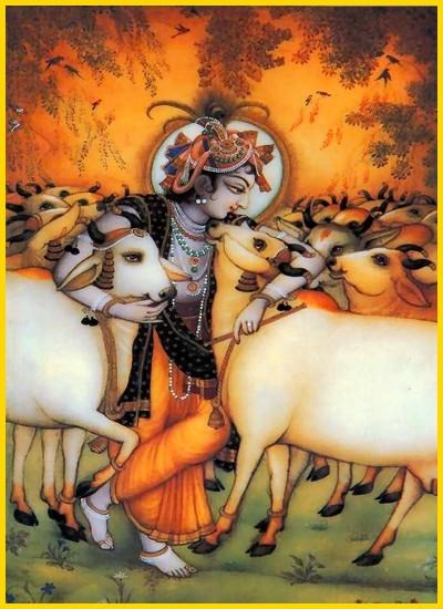 Bhandirvana de bosbrand, Krishna redt met Balarama de gopa's.