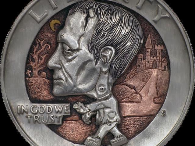 E.T o Frankenstein en una moneda gracias a Paolo Curcio. Moneda de Frankenstein
