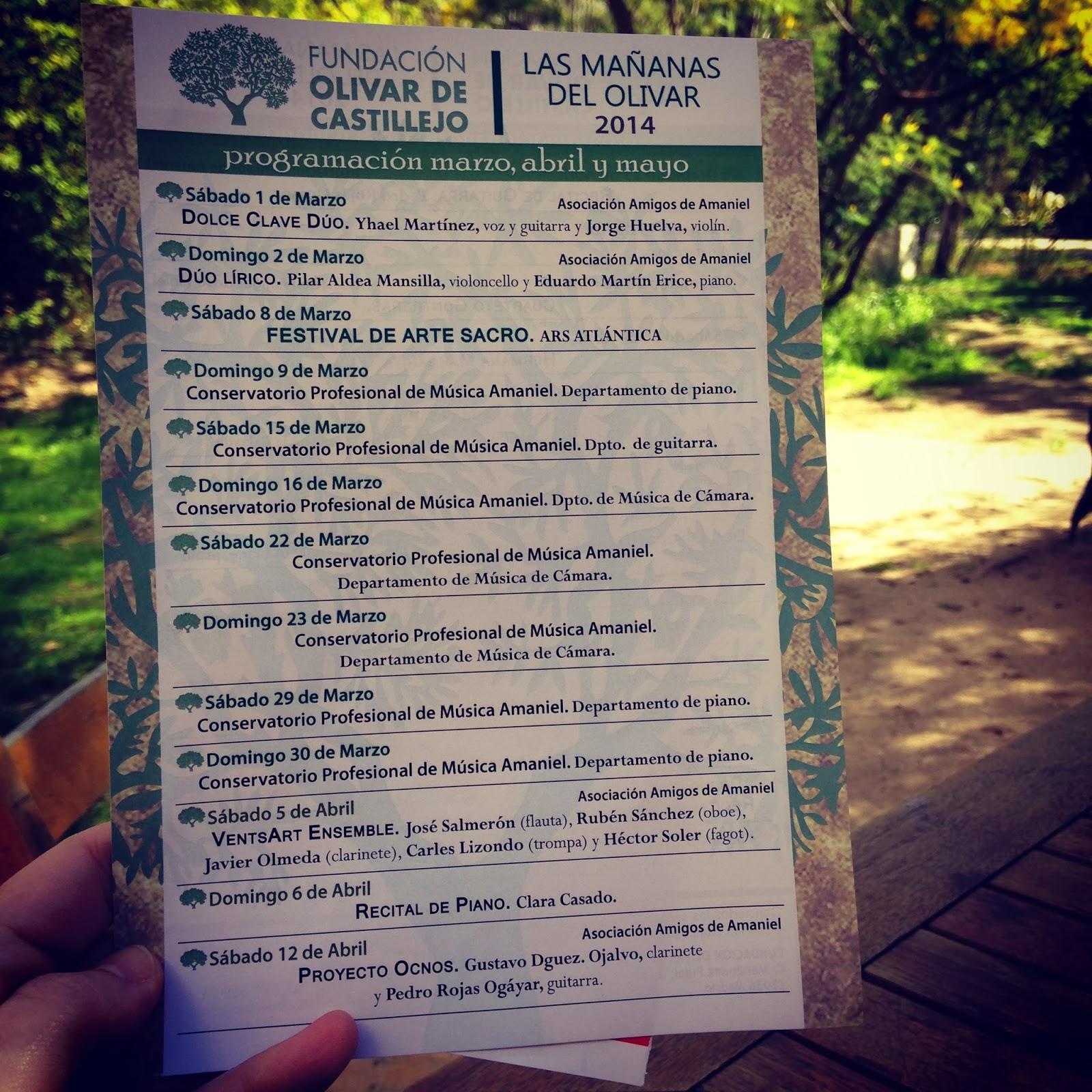 program of activities Olivar de Castillejo