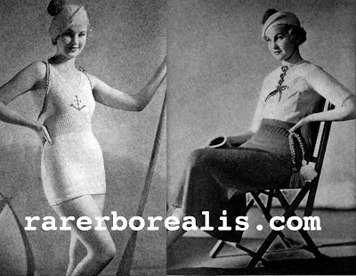 Free 1930's Knitting Pattern - Beach Ensemble swimsuit