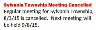 8-3 Sylvania Township Meeting Cancelled