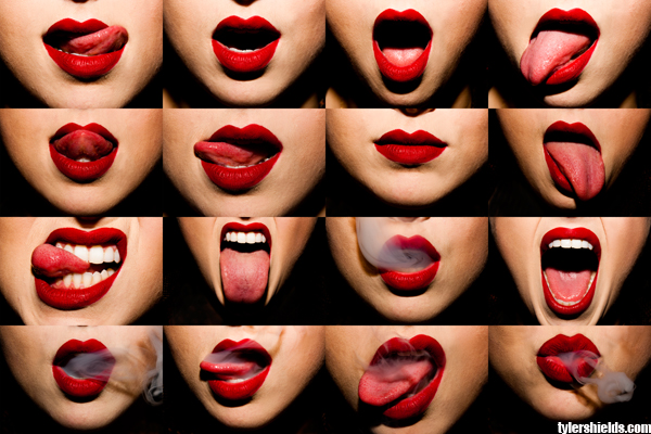 Tyler Shields, Mouthful, smoke, red lipstick