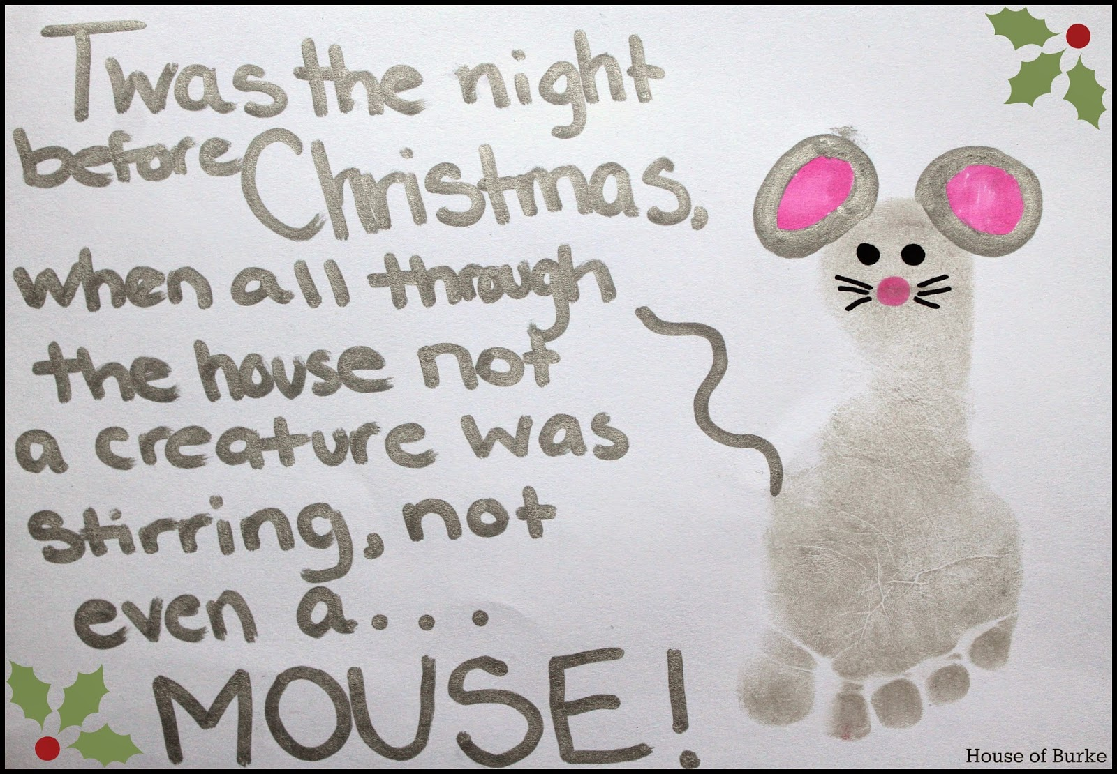 House of Burke: Twas the Night Before Christmas Mouse Footprint Craft