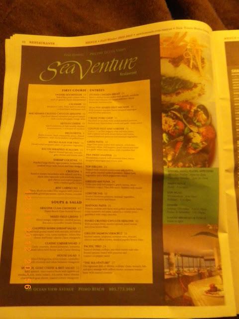 Sea Venture Restaurant Pismo Beach Menu