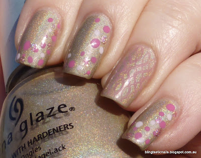 China Glaze FYI with pink dotticure and stamping