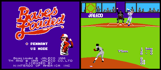 Two screenshots of the NES game Bases Loaded. The screenshot on the left shows the title screen, while the one on the right shows a Jersey player swinging and missing a ball thrown by a pitcher for Boston.