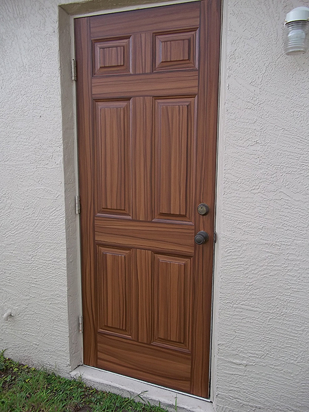 Paint front door to look like wood and to match garage for Looking for front doors