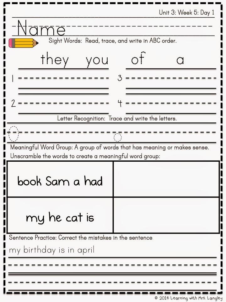 http://www.teacherspayteachers.com/Product/Kindergarten-Morning-Word-Work-Reading-Street-Unit-3-1318600