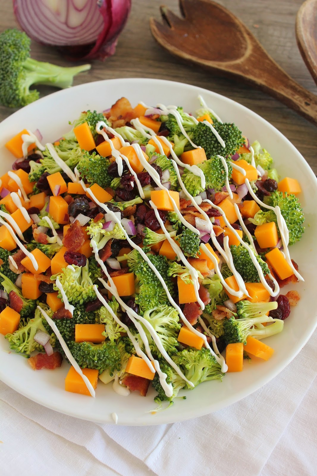 Fresh Broccoli Salad With Cheddar And Bacon