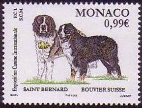 2011年モナコ公国 セント・バーナードとグレート・スイス・マウンテンドッグの切手