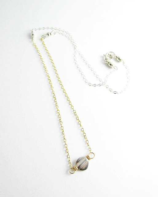 Ripple Limited Edition Silver and Gold Necklace by Beth Hemmila of Hint Jewelry