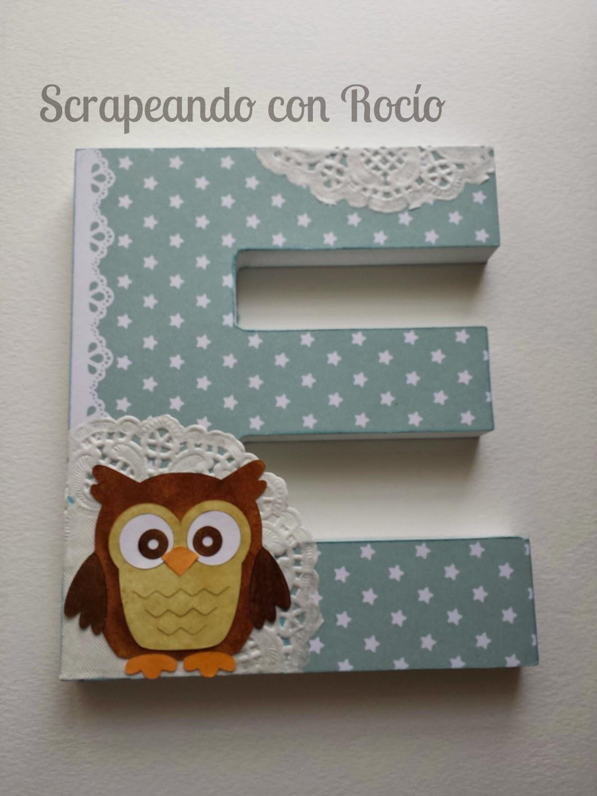 Letra decorada con scrap para bebé