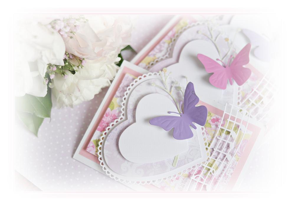 kartka, pocztówka, prezent, serce, dzień matki, motyle, kwiaty