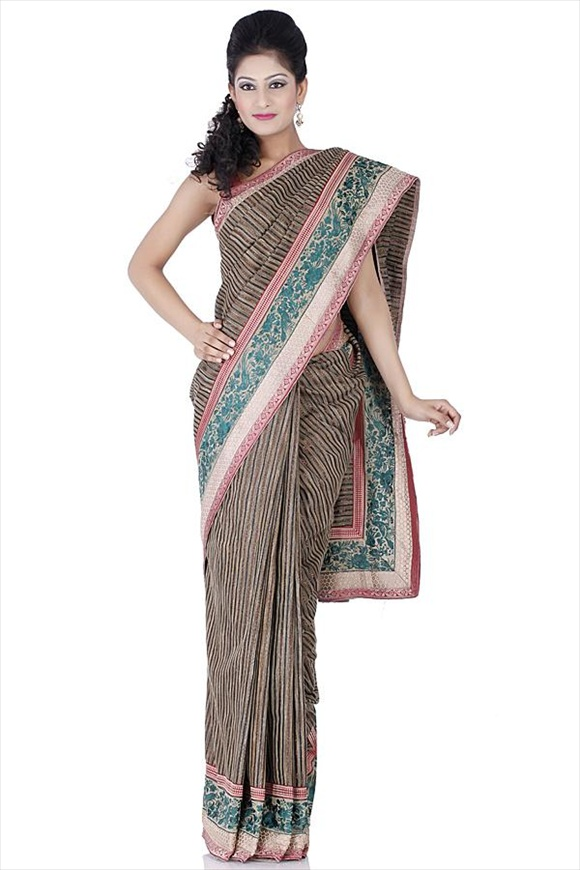 Golden Brown Net Saree
