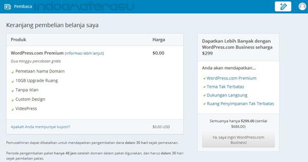 Rincian paket hosting dan domain Wordpress.Com