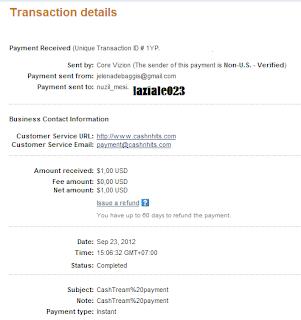 cashtream membayar