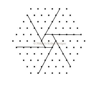 3 Triangle kolam Interlocked dots 11 x 6