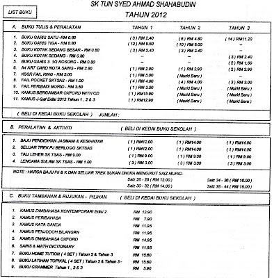 Senarai Harga Buku Tulis Dan Peralatan Sekolah 2012