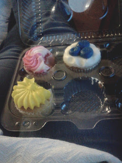 three pretty cupcakes picture
