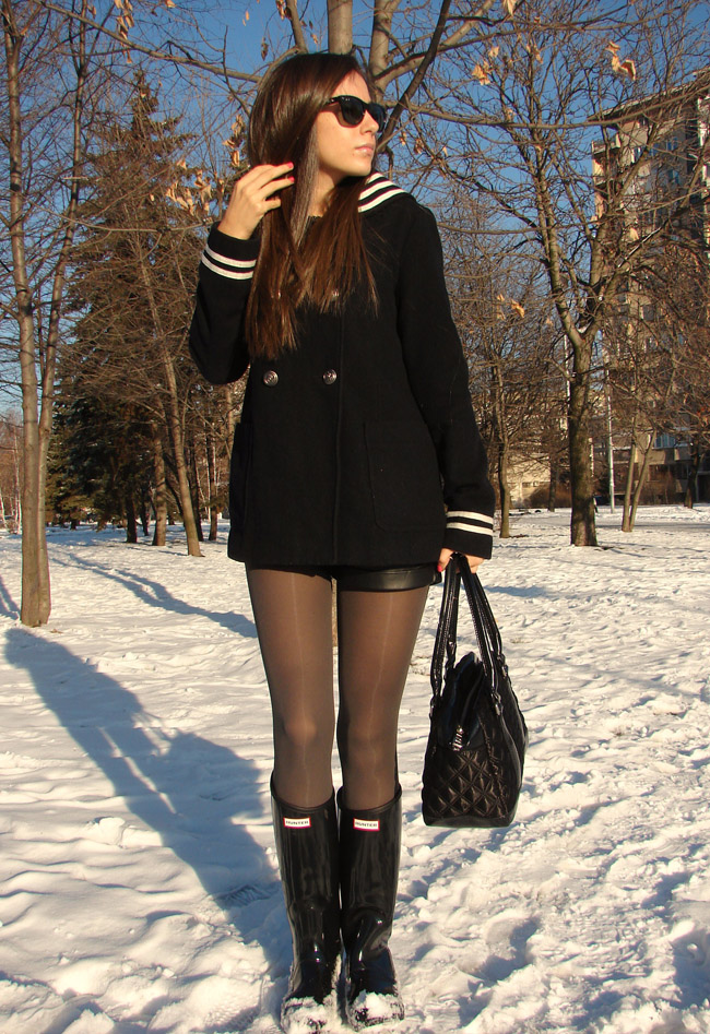 maya madanska from iheartmaya fashion blog wearing topshop navy sailor coat, hunter regent wellington black boots, grey shiny tights, marc by marc jacobs black quilted handbag, fashion blog post, blogger wearing hunter boot, blogger wearing rain boots