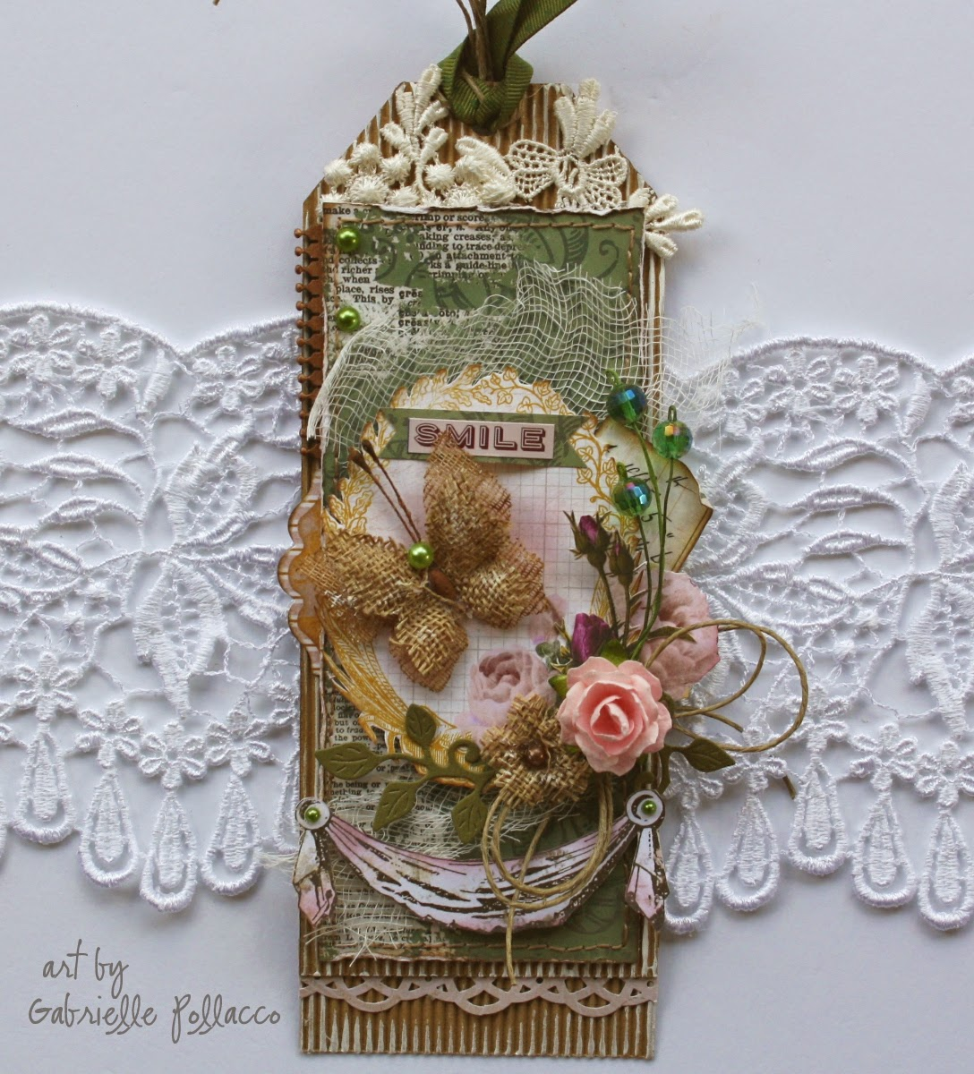 Tag by Gabrielle Pollacco using Bo Bunny 'Rose Cafe' collection