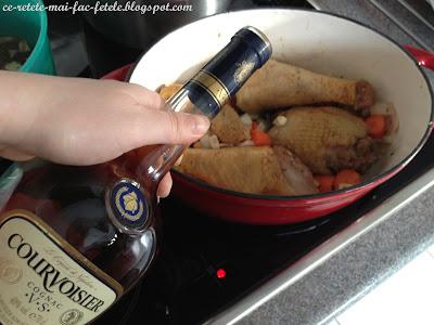 Coq au vin - flambam cocosul cu cognac