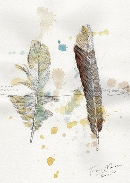 Feather painting by Australian artist Fiona Morgan of WhereFishSing.com