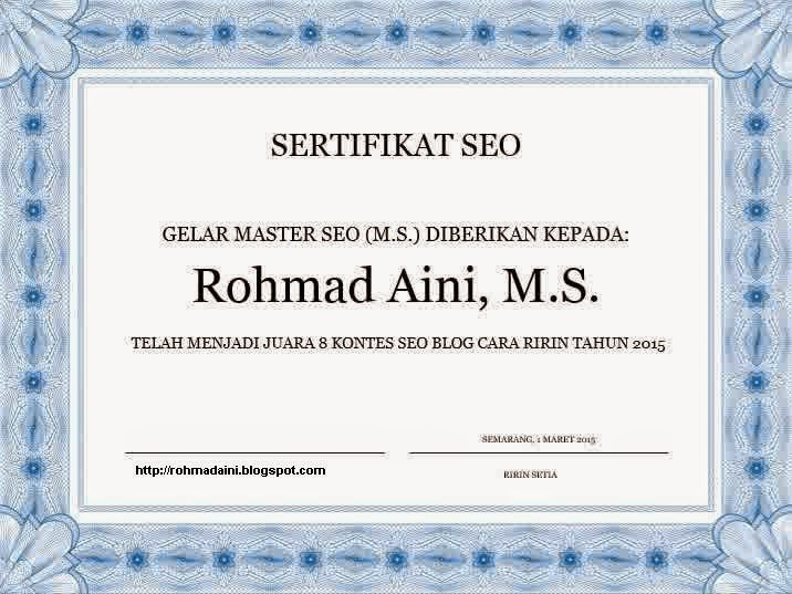 sertifikat seo yang pertama