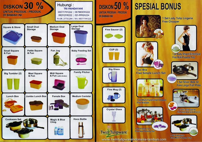Promo Twin Tulipware September - Oktober 2014 ~ Diskon 30% | Diskon 50% | Spesial Bonus