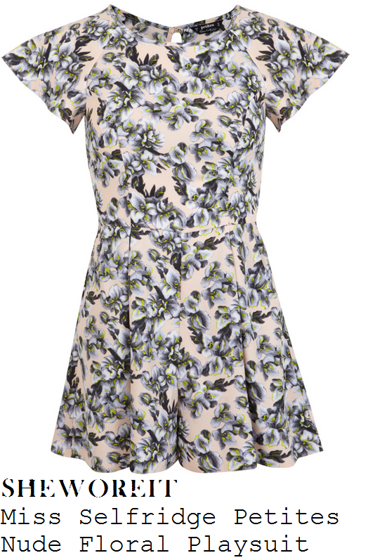 tina-obrien-nude-pink-floral-print-high-waisted-short-sleeve-playsuit-this-morning