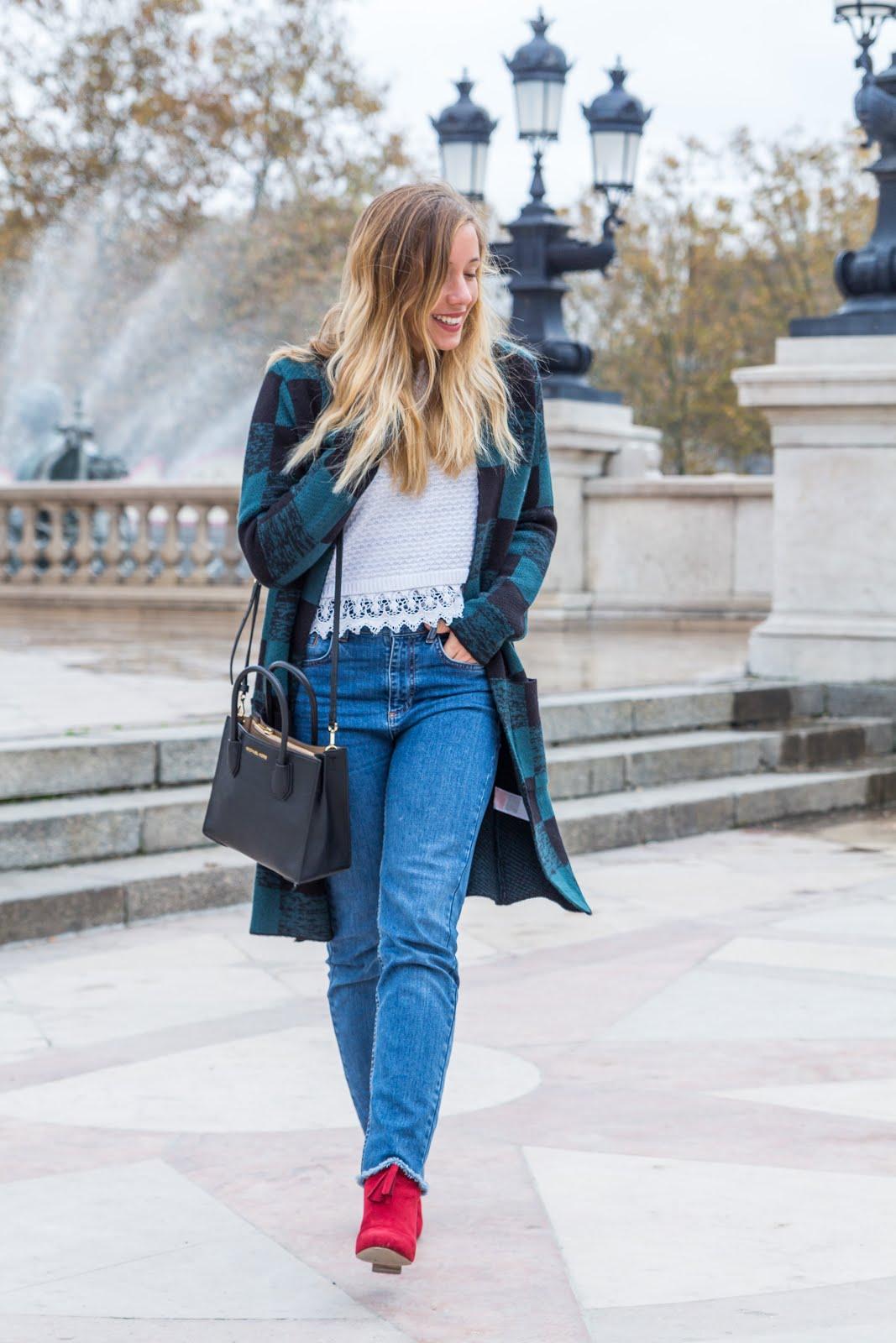 Veste verte carreaux blog mode la penderie de chloe - Mode carreaux ...