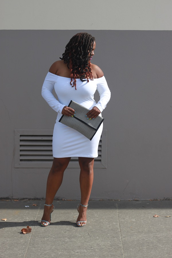 plus size fashion bloggers, ASOS off shoulder white knee length dress, black and white polka dot shoes, Verity Justfab Shoes, hounds tooth DIY Clutch,