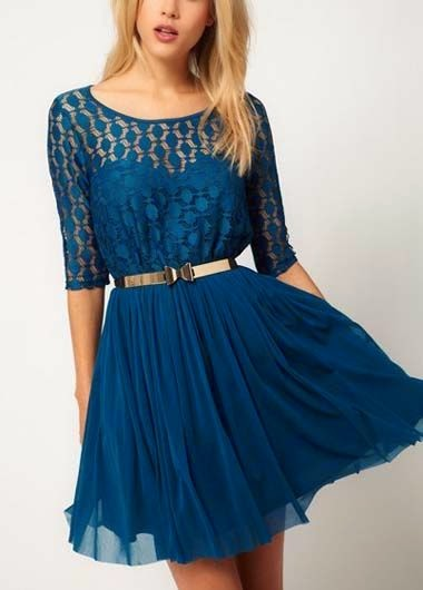 Blue A Line Dress With Neck Lace