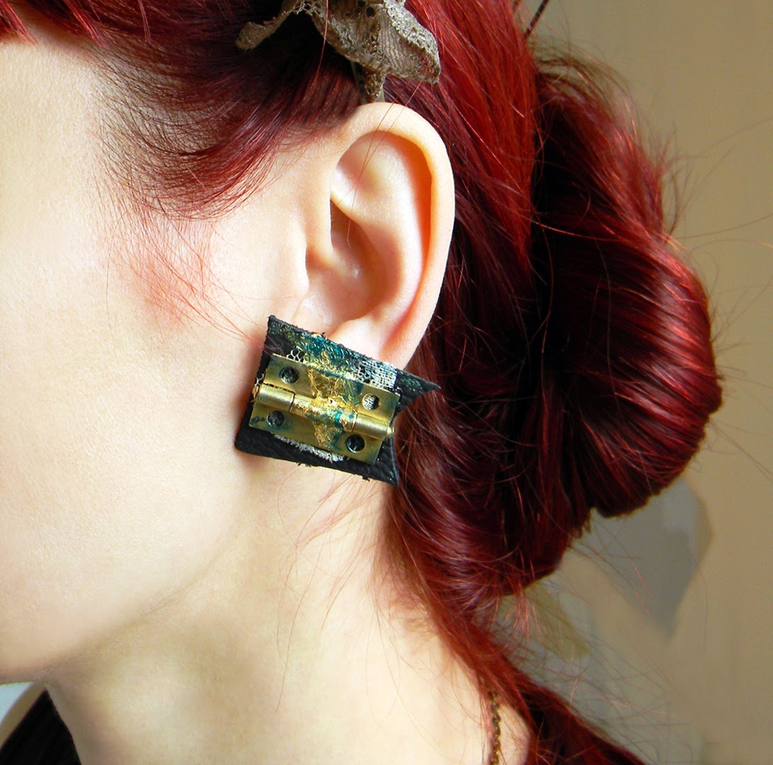 Abstract Shape Earrings, Real Leather and Hand Painted Earrings in Steampunk Style with Gold Leaf and Metallic Brass Charms