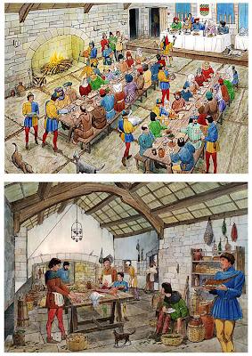Reconstrucción ideal de sala de banquete y cocina en un castillo