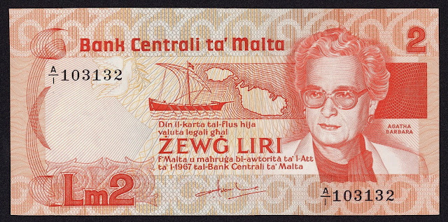 Malta Banknotes 2 Maltese Lira banknote 1986 Agatha Barbara, Former President of Malta