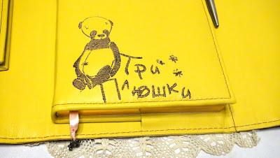 Бизнес ежедневник с вышитым логотипом - блокнот с мишками, вышитые мишки