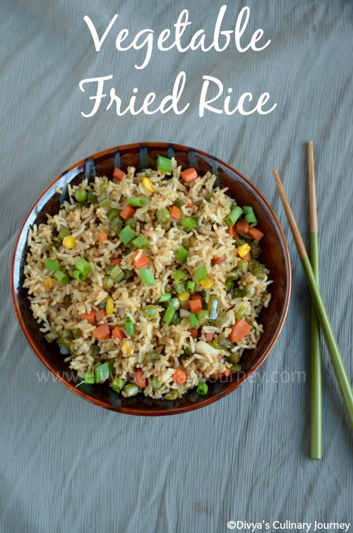 Divya's culinary journey: Vegetable Fried Rice (Indo- Chinese Style)