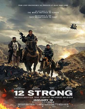 Poster Of English Movie 12 Strong 2018 Full HDCam Movie Free Download Watch Online