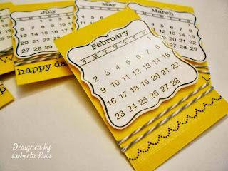 SRM Stickers Blog - Mini Calendar Tutorial by Roberta - #calendar #mini #gift #2014 #twine #borders #stitches #clear box