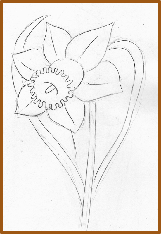 how to draw daffodil flower