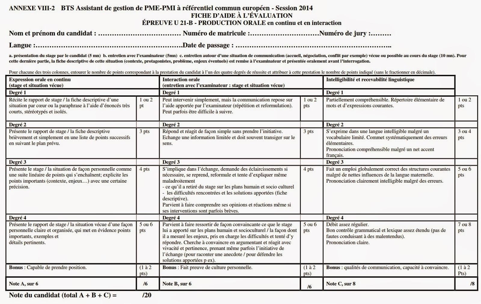 Grille valuation expression orale ag pme pmi lva - Grille evaluation expression ecrite anglais ...