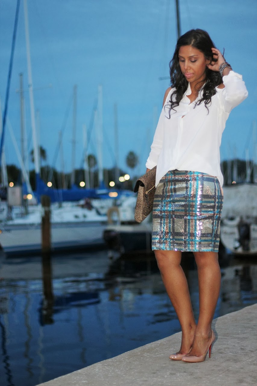Equipment cold shoulder silk blouse top plaid sequin pencil skirt topshop louboutin nude shoe pump dvf leopard clutch