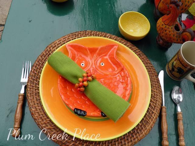 Fall tablescape, owl plate, orange, gold