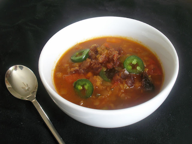 Roasted Red Pepper Tomato Lentil Soup