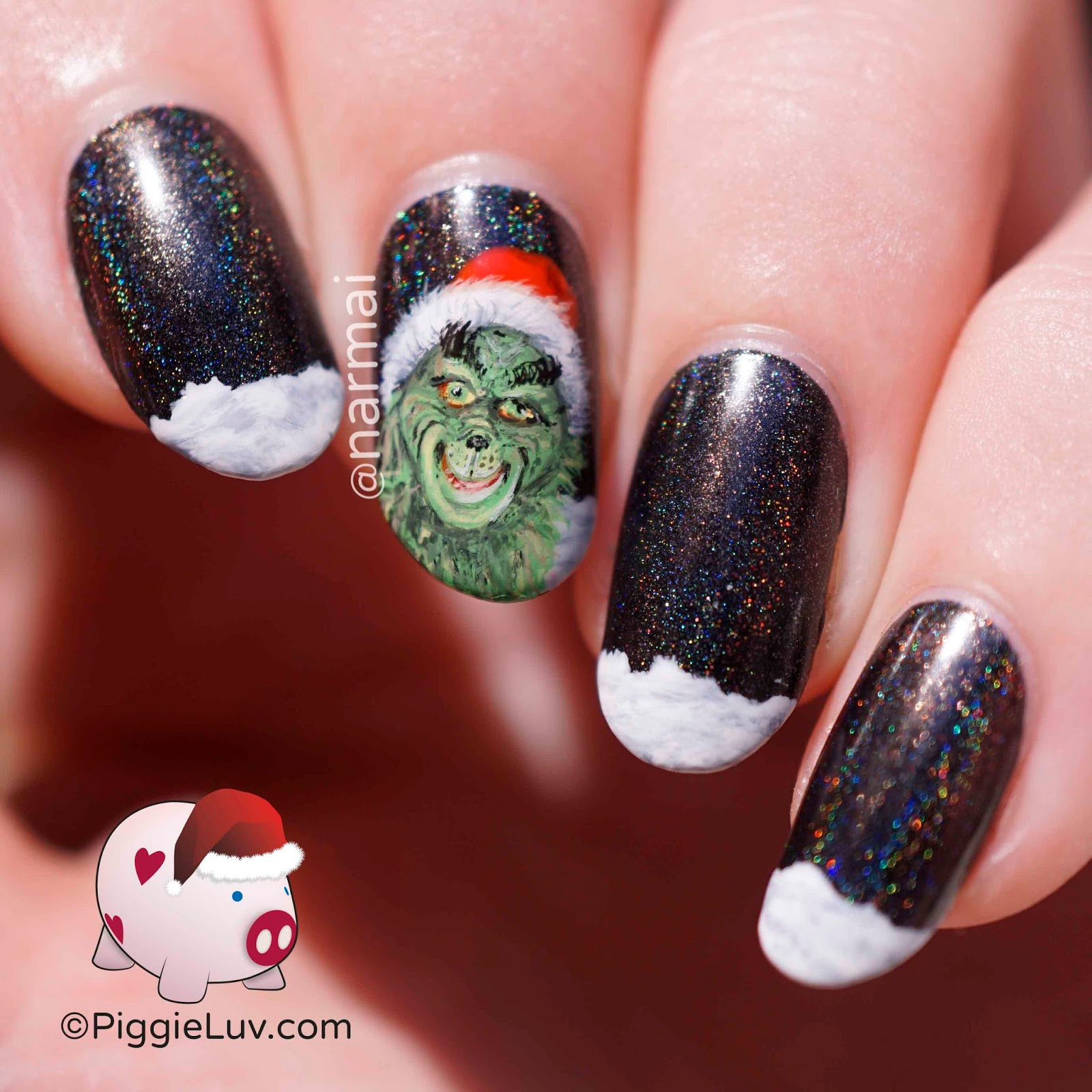 Piggieluv Freehand The Grinch Nail Art For Christmas